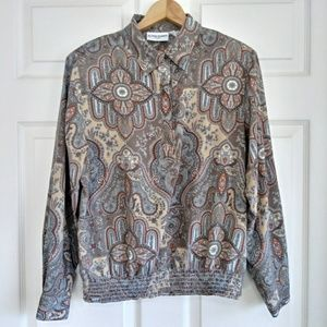 Vintage Alfred dunner tan brown paisley blouse